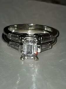 Ziamond 14k solid White Gold Emerald Cut Wedding Bands with Baguettes