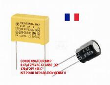PROMO Kit de RÉPARATION PANNE SENSEO condensateur   MKP 0,47µF 275V 470uf 25v