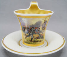 Antique Wwi World War 1 Furstenberg Hand Painted Battle scene Cup & Saucer