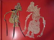 "Early Bali Indonesia Wayang Kulit Shadow Puppets 1 w Horn Handles 19"" 20"""