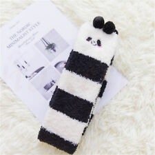 Winter Warm Coral Velvet Striped Knee Thigh High Thick Stockings Animal Socks Black and White Panda