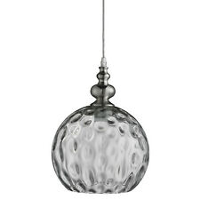 Indiana Satin Silver Globe Ceiling Pendant Light Fitting Dimpled Glass Shade New