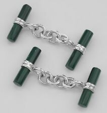 Classic Mens Cuff Links - Green Malachite Toggle Style - Sterling Silver
