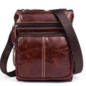 Men Retro Genuine Leather Briefcase Shoulder Bag Messenger Business Leisure Bag