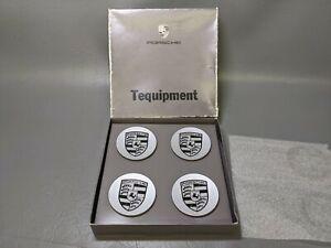 Factory Porsche Wheel Center Caps Genuine Original OEM Black Logo Crest (P8)