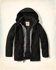 Hollister Men's Layered Wool Parka Jacket Outerwear Sz  M Black