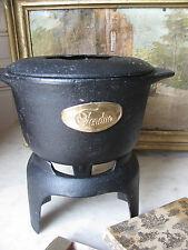 Vtg Retro French Black Cast Iron FONDUE Pot + Stand Country Cottage Decor
