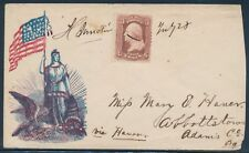 FLAG & COLOMBIA PATRIOTIC COVER MANUSCRIPT (REDUCED AT RIGHT) BU1620