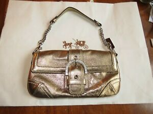 COACH Limited Edition Madison Swarovski Buckle Leather Gold Purse Clutch