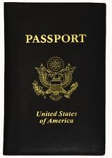 Genuine Leather US Passport Cover ID Holder Wallet Travel Case Handmade Black