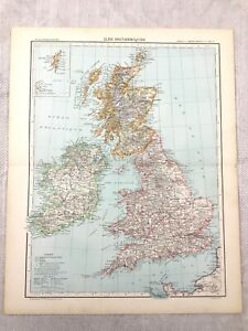 1894 Antique Map of England British Isles UK Britain Old 19th Century French