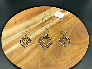 3 Tone Heart Stainless Steel Necklace & Earring Set