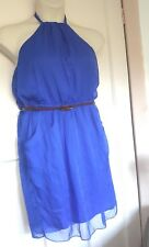 Next Cobalt Blue Chiffon Halter Neck Dress Tan Belt Size 16 Pockets