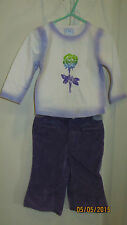 Baby Toddler 18M The Childrens Place Purple White Outfit Flower LS Shirt & Pants