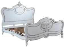 BED LOUIS XV ROCOCO KING LIGHT DISTRESSING OLD LACE WHITE DISTRESSED SOLI
