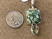 Green Amethyst and Rainforest Jasper pendant Sterling Silver 925 length