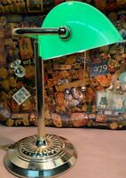 Art Deco Bankers Brass Desk Lamp Green Glass Light Vintage Accountant Pull Chain