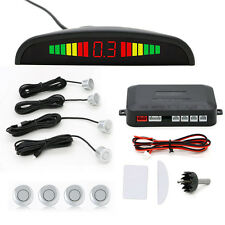 Rear 4 Sendors Car Reverse Parking Sensor LED Display Buzzer Alarm Silver Radar