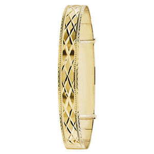 9ct 375 Yellow Gold Large Expandable Engraved Fancy Heavy Ladies Bangle 11.5gr