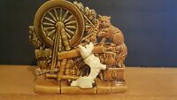 Vintage 1950's McCoy Pottery  SPINNING WHEEL Planter with a Terrier and Cat