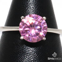 Pink Sapphire Solitaire Ring Women Jewelry 14K White Gold Plated Size 6 to 9