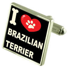 I Love My Dog Silver-Tone Cufflinks Brazilian Terrier