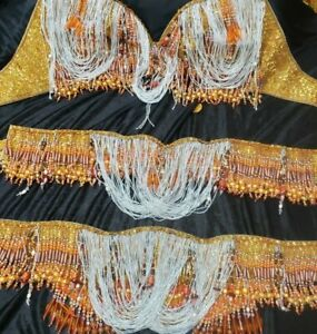 Bellydance Belly Dance Dancing Bra and Belt  Plus size Costume  52DDDDD/G cup