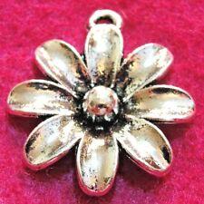 50Pcs. WHOLESALE Tibetan Silver Large FLOWER Charms Pendants Ear Drops Q0078A
