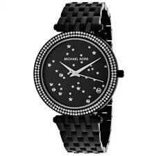 Michael Kors MK3787 Darci Black Tone Crystal Stars MK Logo Ladies Wrist Watch