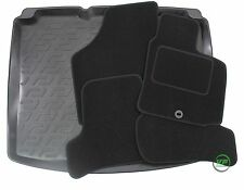 SEAT LEON HATCHBACK 2005-2012 Tailored black floor car mats + boot tray mat