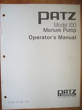 Operator's Manual - Patz Model 100 Manure Pump