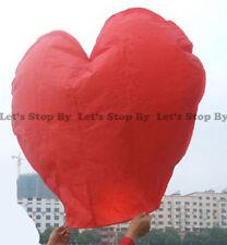 8x RED HEART Kongming Sky Flying Wishing Lantern Chinese Paper Candle Wedding