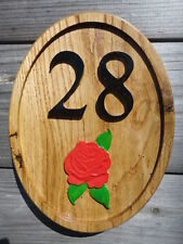 WOODEN OAK HOUSE/SHED/WALL/GARDEN/CUSTOMIZED NUMBER SIGN WITH ART /BEST QUALITY