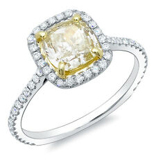 1.61 Ct. Canary Fancy Yellow Cushion Cut Diamond Engagement Ring VS1 EGL 18K
