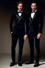 Custom Double Breasted Men's Velvet Wedding Groom Tuxedo Groomsman Best Man Suit