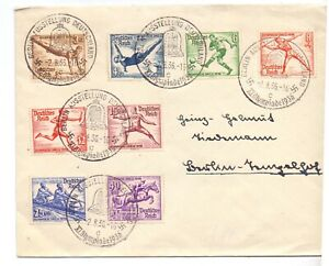 GERMANY 1936 OLYMPIC COVER USED WITH OLYMPICS SET OF 8