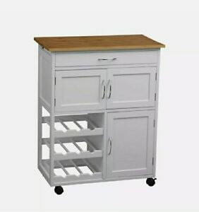 Premier Housewares Kitchen Trolley White Frame & Bamboo Top 5 Compartments
