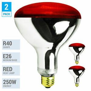 2 Pack 250W Watt Infrared Brooder Chicken Coop Hen Red Heat Lamp R40 Medium E26