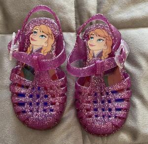 Girls Infant Size 5 - Juju Jelly Shoes - Frozen Themed