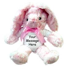 """Personalized Stuffed Rabbit - 12"""" Pink Unipak Plush Bunny"""