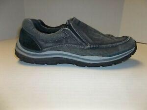 Mens Size 9 Skechers Gray Canvas Slip On Loafers Memory Foam