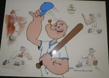 "POPEYE ""TAKE HIM OUT TO THE BALL GAME"" BASEBALL CEL SIGNED  MYRON WALDMAN SIGNED"