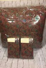 Ralph Lauren Bleecker Street * 3 Piece Set* Red Jacquard FULL QUEEN Comforter