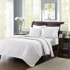 Madison Park 100% Polyester Keaton 3 Piece Coverlet Set, King White MP13-627 New