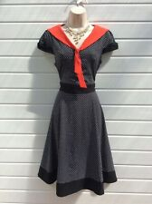 TEA DRESS,ROCKABILLY,SWING,POLKA DOT,40'S,50'S,60'S,VINTAGE STYLE,SIZE 12-14,NWT