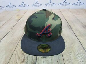 NWT New Era 59Fifty Atlanta Braves Blue Logo Green Camo Fitted Hat size 7 5/8