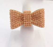 Fashion Ring stretch  BOW -light pink stones- gold tone