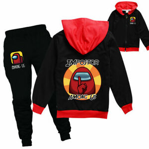 Among us Kids Boys Girls Tracksuit Zip Hooded Top Outfit Sports Set Tops+Pants*