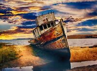 FKG Arts Puzzles Adult Jigsaw Puzzle Colorful Old Boat Beach Shore 500-Pieces