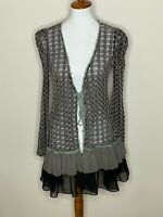 A'Reve Large Anthropologie Cardigan Black Tulle Long Sleeve Crochet Sweater